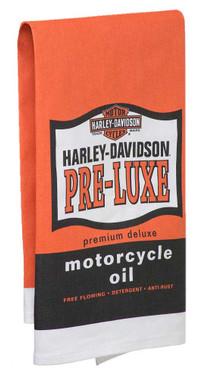Harley-Davidson Pre-Luxe Bar Towel, 22 x 32 inches, Orange & Black HDL-18571 - Wisconsin Harley-Davidson