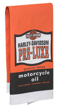 Harley-Davidson Pre-Luxe Bar Towel, 22 x 32 inches, Orange & Black HDL-18571 - Wisconsin Harley-Davidson
