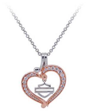 Harley-Davidson Womens Rose Gold Plated & Silver Bling Heart Necklace HDN0371-18 - Wisconsin Harley-Davidson