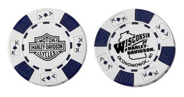 Harley-Davidson Wisconsin Harley-Davidson Poker Chip White & Blue CHIP - Wisconsin Harley-Davidson