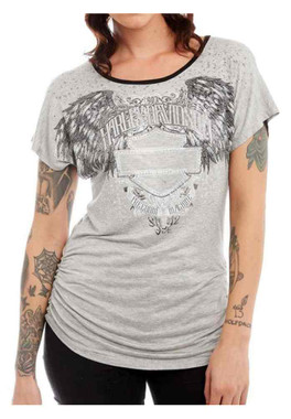 Harley-Davidson Womens Ancient Shrine To Freedom Embellished Mesh Back Top, Gray - Wisconsin Harley-Davidson