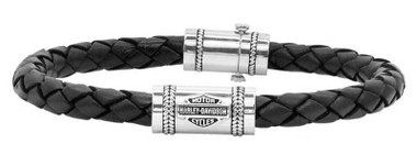 Harley-Davidson Men's Leather Silver Bar & Shield Rope Bracelet, Black HDB0376 - Wisconsin Harley-Davidson