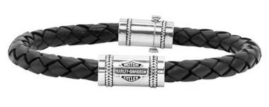 Harley-Davidson Men's Leather Silver Bar & Shield Rope Bracelet, Black HDB0376 - Wisconsin Harley-Davidson