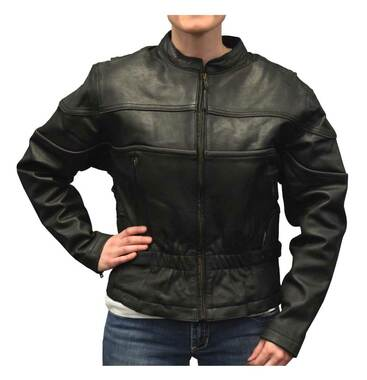 Redline Women's Mid-Weight Reflective Leather Motorcycle Jacket, Black L-399 - Wisconsin Harley-Davidson