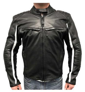 Redline Men's White Striped Goat Skin Leather Motorcycle Jacket, Black M-BWG - Wisconsin Harley-Davidson