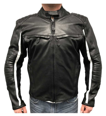 Redline Men's White Striped Goat Skin Leather Motorcycle Jacket, Black M-BWG - Wisconsin Harley-Davidson