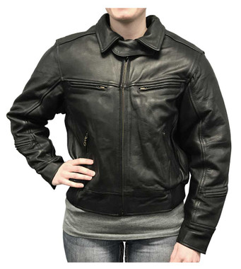 Redline Women's Bomber Naked Cowhide Leather Motorcycle Jacket, Black L-30 - Wisconsin Harley-Davidson