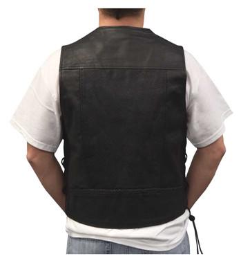 Redline Leather Men's Leather Side Laces Motorcycle Riding Vest, Black M-2100 - Wisconsin Harley-Davidson