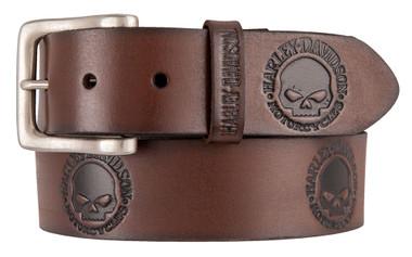 Harley-Davidson Men's Embossed Willie's World Leather Belt, Brown HDMBT11333-BRN - Wisconsin Harley-Davidson