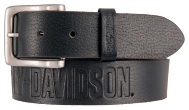 Harley-Davidson Men's Embossed Ride The Line Leather Belt, Black HDMBT11331-BLK - Wisconsin Harley-Davidson