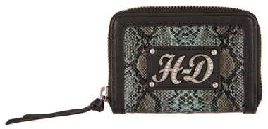 Harley-Davidson Women's Snake Charmer Leather Zip-Around Wallet HDWWA11338-BLK - Wisconsin Harley-Davidson