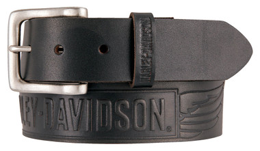 Harley-Davidson Men's Embossed Crosswind Leather Belt, Black HDMBT11334-BLK - Wisconsin Harley-Davidson