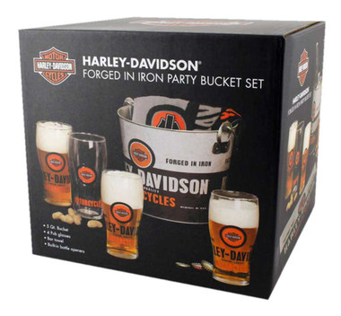 Harley-Davidson Forged In Iron Party Bucket Set, 5 qt. Metal Bucket HDL-18776 - Wisconsin Harley-Davidson