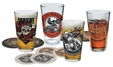 Harley-Davidson Free Wheeling Pint Glasses Set w/ Coasters, 16 oz. HDL-18778 - Wisconsin Harley-Davidson