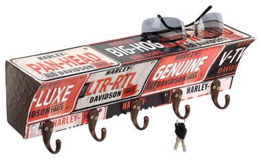 Harley-Davidson License Plate Metal Key Rack w/ 5 Hooks, 15.75 x 4 in HDL-15318 - Wisconsin Harley-Davidson