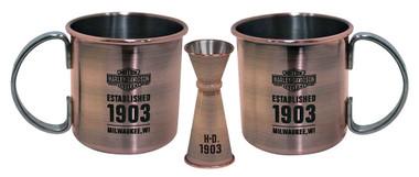 Harley-Davidson Moscow Mule Set, Antique Copper Finish, 16 oz. HDL-18609 - Wisconsin Harley-Davidson
