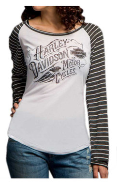 Harley-Davidson Women's Incremental Delusions Long Sleeve Raglan Tee 5V34-HD0A - Wisconsin Harley-Davidson