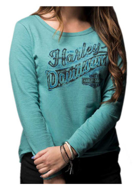 Harley-Davidson Women's Vintage Rider Long Sleeve Open Neck Pullover 5K0P-HE3V - Wisconsin Harley-Davidson
