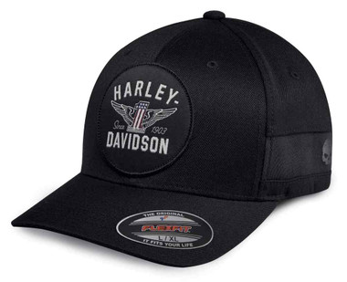 Harley-Davidson Men's Winged Logo Stretch Fit Baseball Cap, Black 99403-18VM - Wisconsin Harley-Davidson