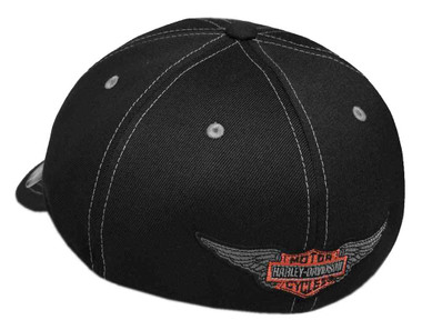 Harley-Davidson Men's Flames H-D Stretch Fit Baseball Cap, Black 99408-18VM - Wisconsin Harley-Davidson