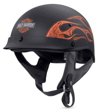 Harley-Davidson Men's Wheeler Flames M04 Half Helmet, Matte Black 98227-18VX - Wisconsin Harley-Davidson