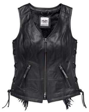 Harley-Davidson Women's Boone Fringed Side Lace Leather Vest, Black 98014-18VW - Wisconsin Harley-Davidson