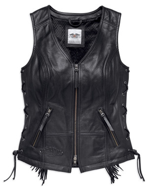 Harley-Davidson Women's Boone Fringed Side Lace Leather Vest, Black 98014-18VW - Wisconsin Harley-Davidson