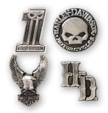 Harley-Davidson Dark Custom 3D Die Cast Magnet Set, Set of 4, Silver DM25230 - Wisconsin Harley-Davidson