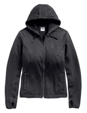 Harley-Davidson Women's Scroll Skull 3-IN-1 Riding Jacket, Black 98246-18VW - Wisconsin Harley-Davidson