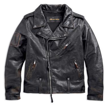 Harley-Davidson Men's Master Distressed Slim Fit Leather Biker Jacket 98003-18VM - Wisconsin Harley-Davidson