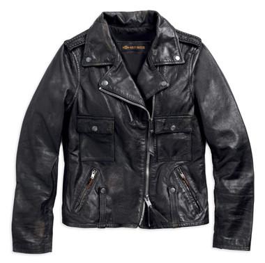 Harley-Davidson Women's Wild Distressed Leather Biker Jacket, Black 98017-18VW - Wisconsin Harley-Davidson