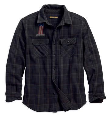 Harley-Davidson Men's Over-Dyed Plaid Slim Fit Long Sleeve Shirt 99011-18VM - Wisconsin Harley-Davidson