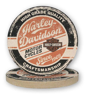 Harley-Davidson High Grade Sandstone Coaster Set, Two Pack 4 inch Set CS132864 - Wisconsin Harley-Davidson