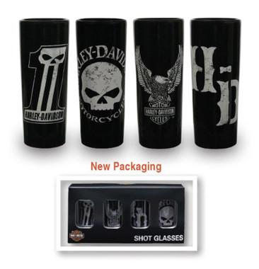 Harley-Davidson Dark Custom Ceramic Shot Glasses, Set of 4, 2.5 oz. SG25288 - Wisconsin Harley-Davidson