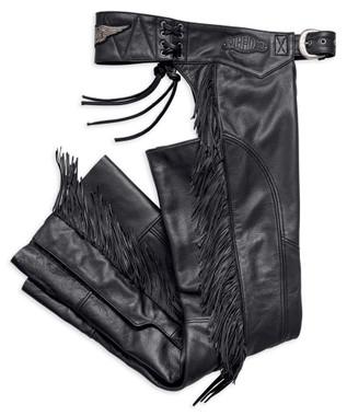 Harley-Davidson Women's Boone Fringed Legs Leather Chaps, Black 98012-18VW - Wisconsin Harley-Davidson
