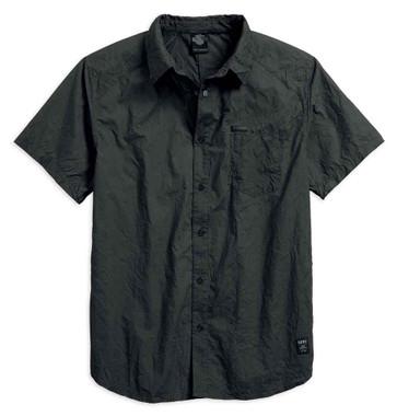 Harley-Davidson Men's Black Label Washed & Wrinkled Woven Shirt 96648-17VM - Wisconsin Harley-Davidson