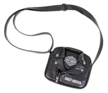Harley-Davidson Little Girls' PU Biker Jacket Style Crossbody Bag, Black 7130762 - Wisconsin Harley-Davidson