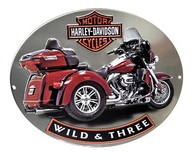 Harley-Davidson Wild & Three Motorcycle Embossed Tin Sign, 15.75 x 13 in 2011341 - Wisconsin Harley-Davidson