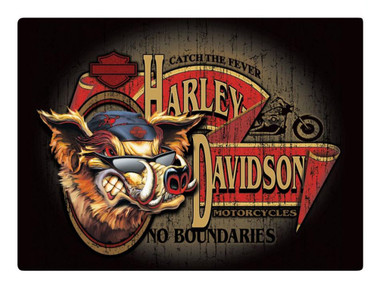 Harley-Davidson No Boundaries Hog Embossed Tin Sign, 17.125 x 12.5625 in 2010491 - Wisconsin Harley-Davidson