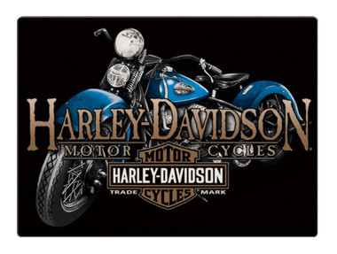 Harley-Davidson Old Blue Motorcycle Embossed Tin Sign, 17 x 12.5 inches 2011331 - Wisconsin Harley-Davidson