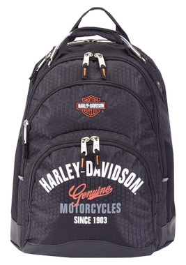 Harley-Davidson Tail of The Dragon Steel Wire Handle Backpack, Black 99220 BLK - Wisconsin Harley-Davidson
