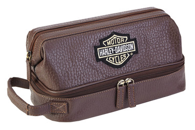 Harley-Davidson Deluxe Top Grain Bar & Shield Leather Toiletry Kit 99509 Brown - Wisconsin Harley-Davidson