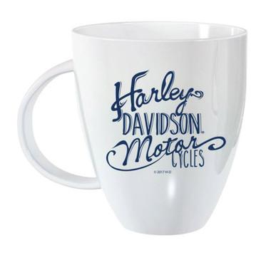Harley-Davidson Bistro Lustre Ceramic Coffee Cup, White 18 oz. 3WLM4912 - Wisconsin Harley-Davidson