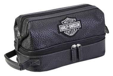 Harley-Davidson Deluxe Top Grain Leather Bar & Shield Toiletry Kit 99509 Black - Wisconsin Harley-Davidson