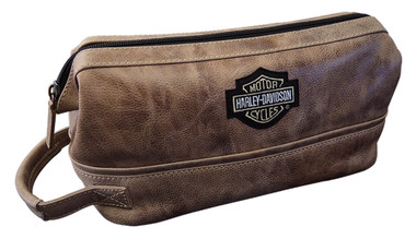 Harley-Davidson Deluxe Bar & Shield Leather Toiletry Kit, Palomino 99609-PAL - Wisconsin Harley-Davidson