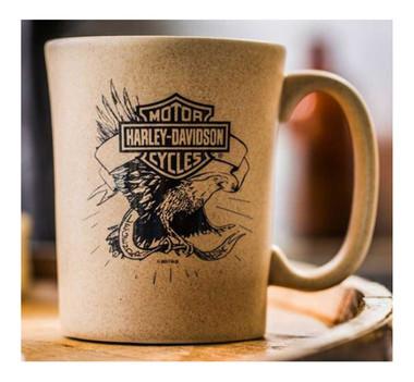 Harley-Davidson Speckle B&S Eagle Ceramic Coffee Cup, Natural 15 oz. 3SMN4907 - Wisconsin Harley-Davidson
