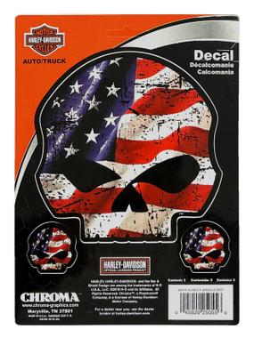 Harley-Davidson RWB Willie G Skull Stick Onz Decal Set, 6 x 8 In Red-White-Blue - Wisconsin Harley-Davidson