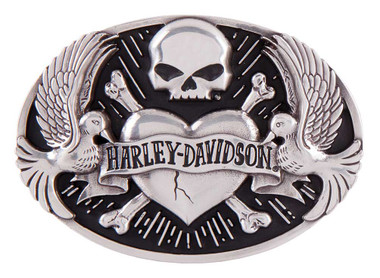 Harley-Davidson Women's Sculpted Tattoo Belt Buckle, Antique Silver HDWBU11408 - Wisconsin Harley-Davidson