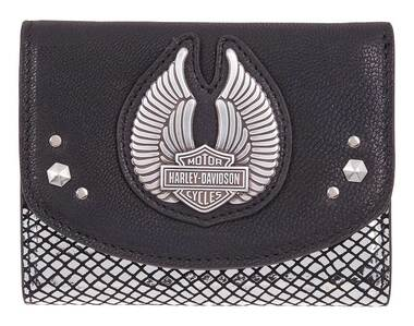 Harley-Davidson Women's Wing Disco Genuine Leather RFID Wallet HDWWA11347-BLK - Wisconsin Harley-Davidson