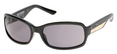 Harley-Davidson Women's Metal Plaque Sunglasses, Shiny Black Frame & Smoke Lens - Wisconsin Harley-Davidson